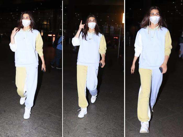 kriti sanon look stylish in her colourful nike tracksuit at the mumbai airport