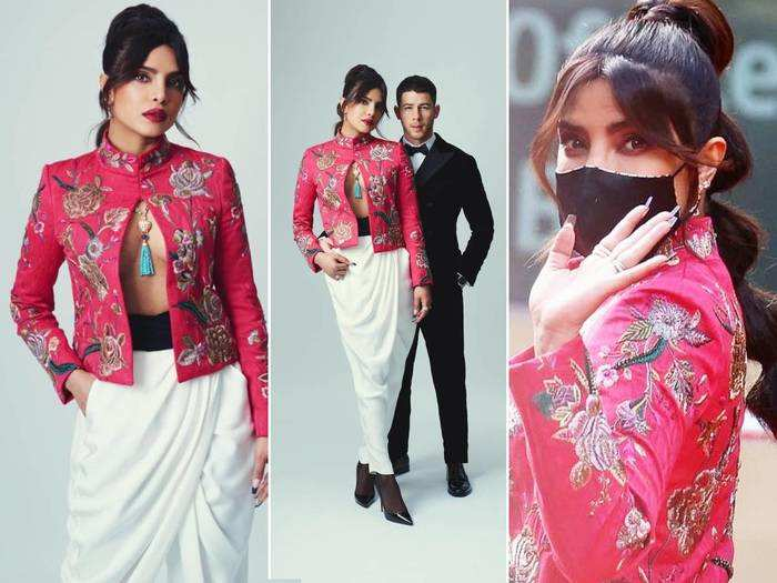 priyanka chopra jonas looks worst in embroidered jacket and pants by manuel pertegaz