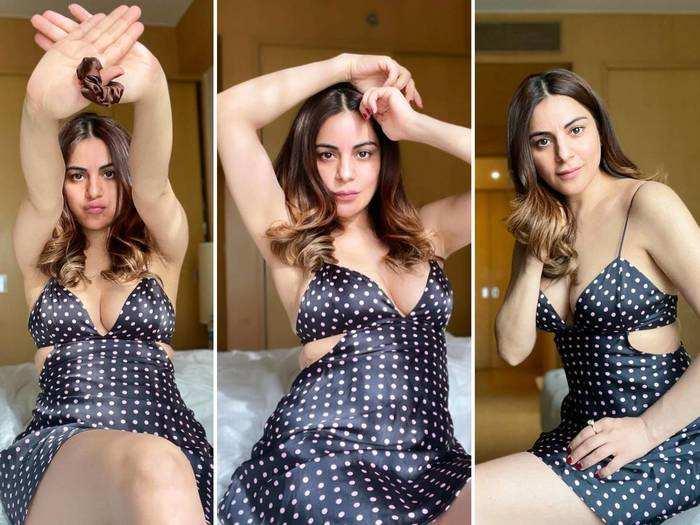 shraddha arya trolled for her black polka mini dress
