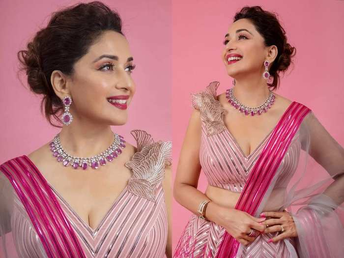 madhuri dixit beautiful look in pink color lehenga designed by amit aggarwal in marathi