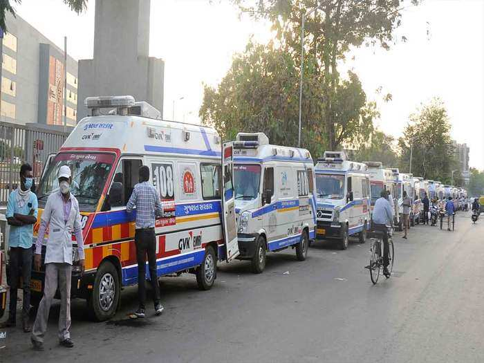 patients wait inside ambulances in a queue outside covid 19 hospital in ahmedabad
