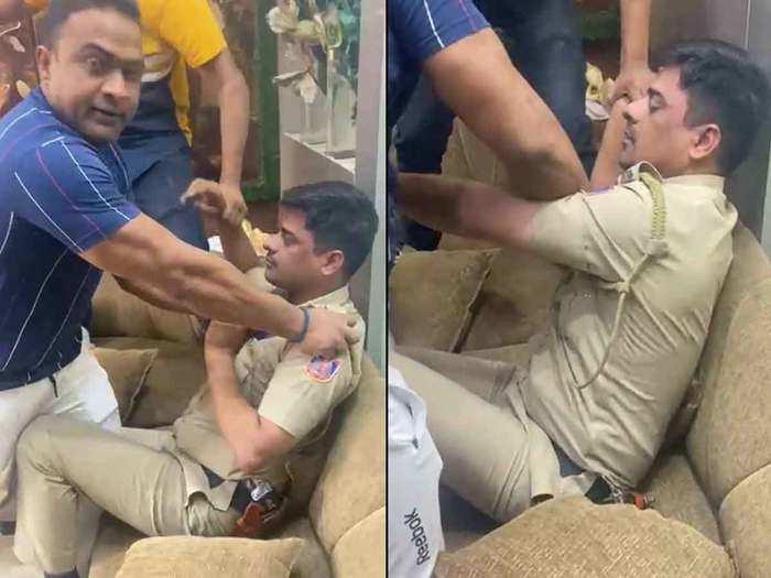 पुलिस को पीटने का वीडियो वायरल