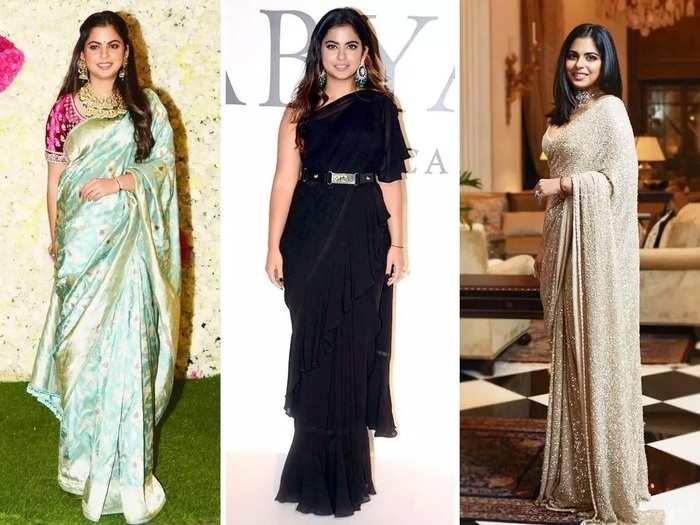 isha ambani beautiful and gorgeous designer saree collection in marathi