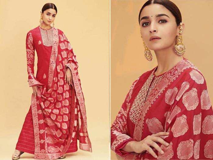 alia bhatt looks drop dead gorgeous in red sabyasachi sari
