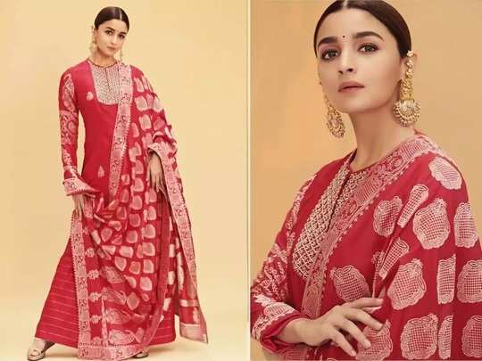 alia bhatt gorgeous and beautiful look in red color saree designed by sabyasachi mukherjee in marathi