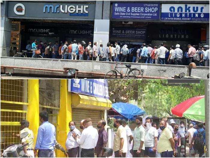 delhi lockdown wine shops closed people queue up outside liquor stores