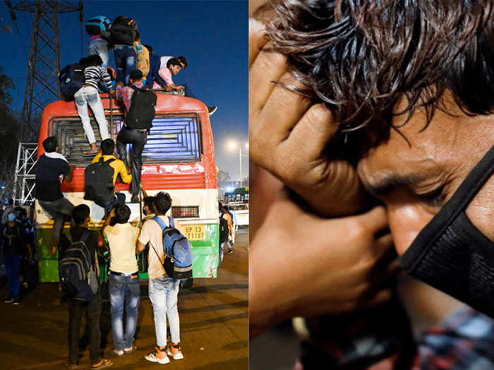 heartbreaking photos of migrants struggling to go home from delhi after lockdown
