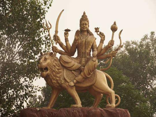 due to this goddess durga rides a lion in marathi