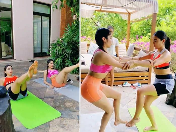 Sara Ali Khan and Janhvi Kapoor doing the workout together