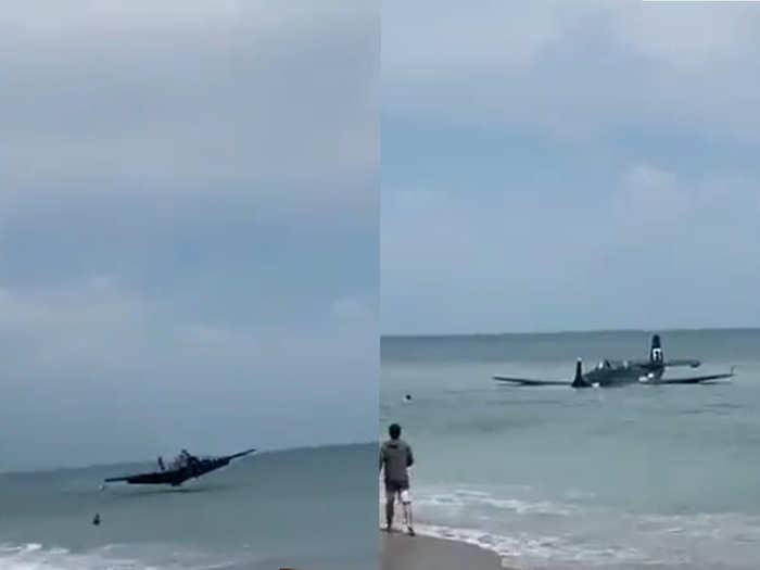 WW II-Era Aircraft Crash Landing in sea