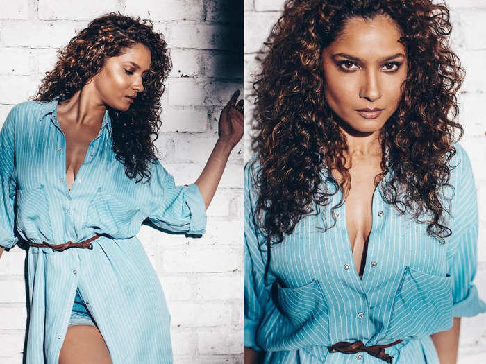ankita lokhande brutally trolled in deep neck sky blue unbuttoned shirt