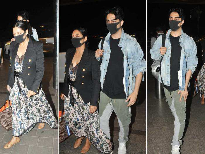 gauri khan and aryan khan looks worst at mumbai airport as they leave for new york