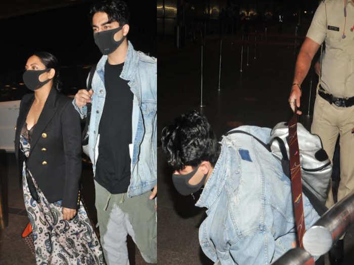 Shah rukh wife Gauri Khan and son Aryan Khan were leaving for New York