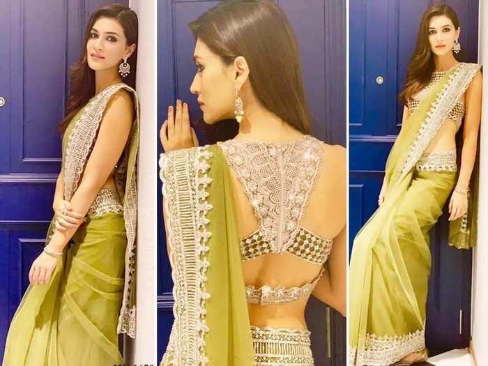 kriti sanon white colour badla work saree look designed by manish malhotra in marathi