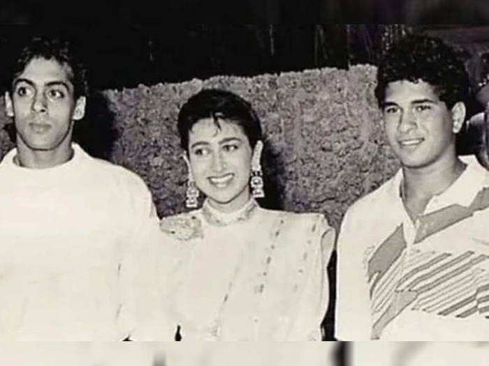 Salman Khan, Karisma Kapoor And Sachin Tendulkar