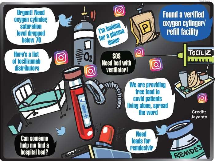Social media platforms are saving the day in the wake of COVID crisis. (Illustration: Jayanto)