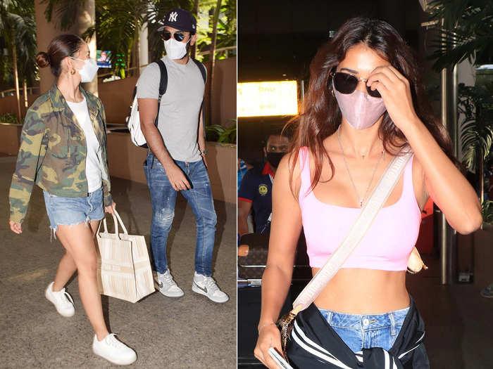 alia bhatt in denin shorts and disha patani in sports bra flaunts tonned body