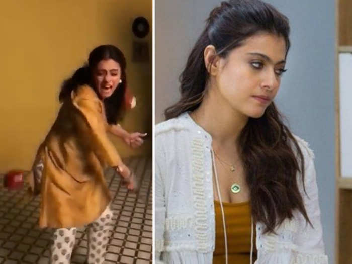 kajol shares video performing a stunt with apple