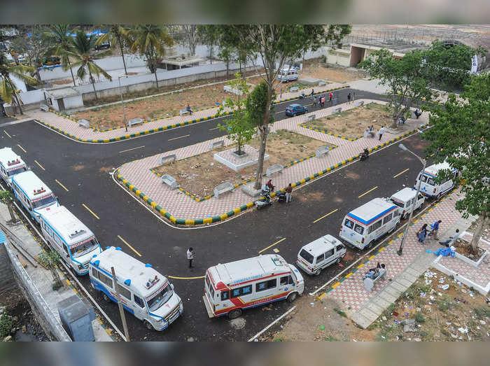 Bengaluru: Ambulances lined up at crematorium