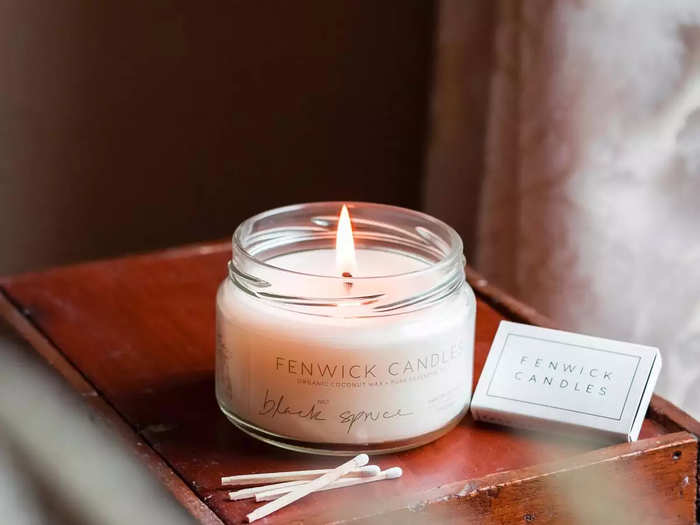 scented candle with smell of office