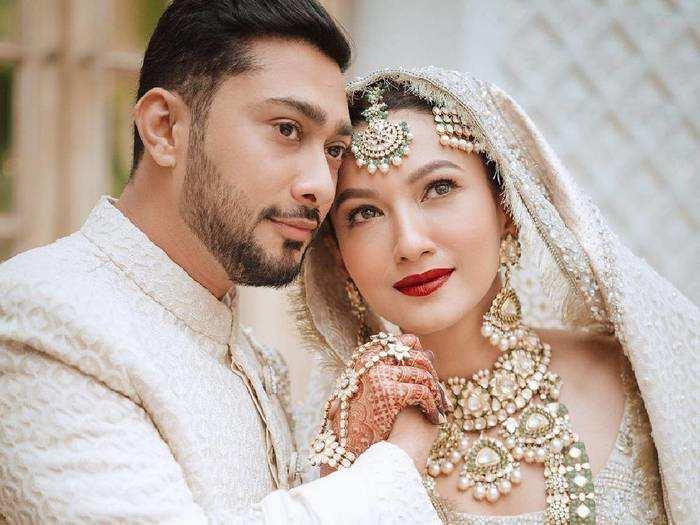 gauahar khan wore white gharara with a chikankari dupatta on her wedding day