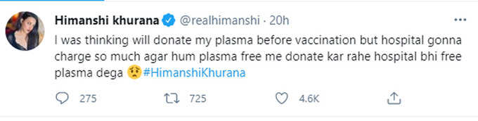 himanshi khurana tweet