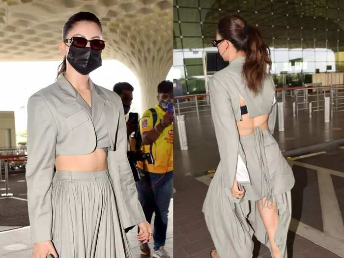 urvashi rautela in cropped blazer and asymmetrical skirt for airport look in marathi
