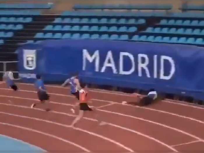 Athlete Slips Through Gap
