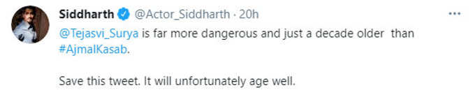 Actor Siddharth's tweet