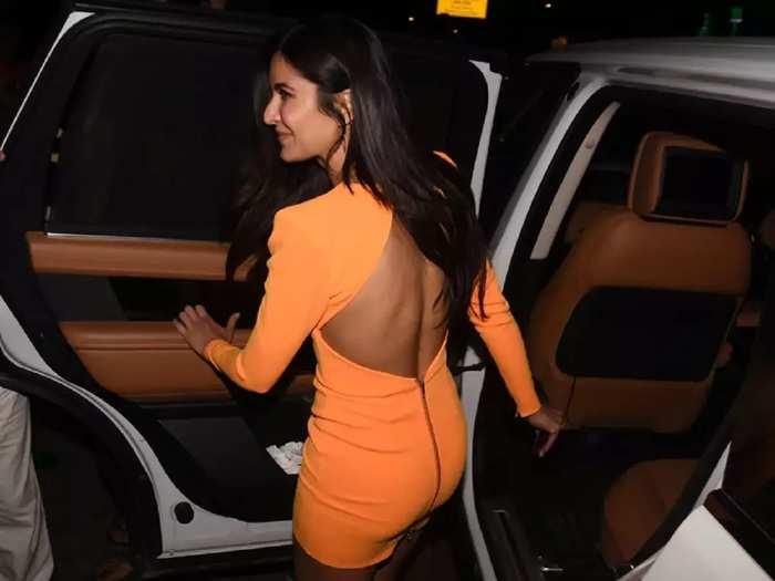 katrina kaif beautiful look in neon orange color backless dress in marathi