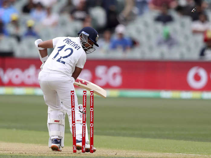 Adelaide:Indias Prithvi Shaw turns to see hes bowled on the second delivery fr...