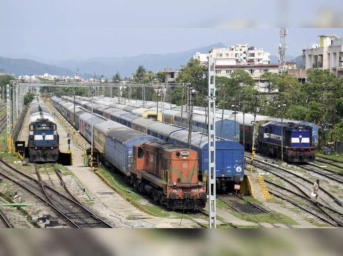 Guwahati: Trains parked at the Gauhati Railway Station in Guwahati. Indian Railw...