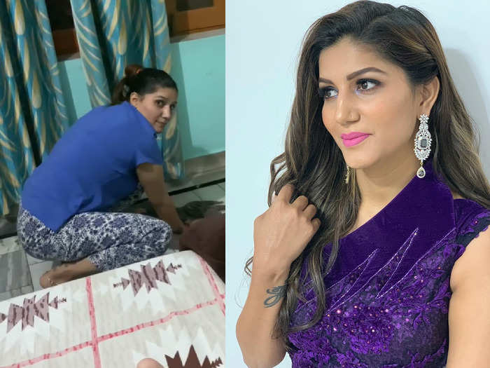 sapna choudhary video of cleaning her house shows the life of a working woman and wife
