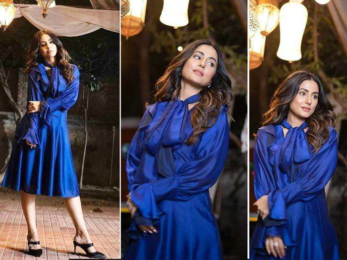 hina khan looks drop dead gorgeous in royal blue a line ruffle dress by mazikien