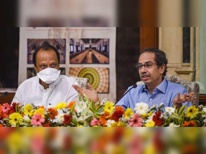 Mumbai: Maharashtra CM Uddhav Thackeray with Deputy CM Ajit Pawar during inaugur...