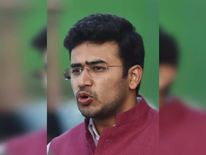 New Delhi: BJP MP Tejasvi Surya speaks to media at Parliament, during the ongoin...