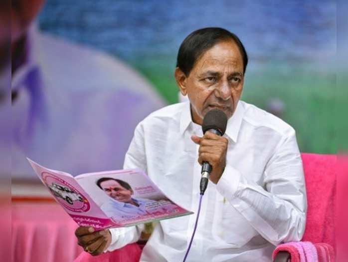 Hyderabad: TRS President and Chief Minister K Chandrashekar Rao addresses media ...