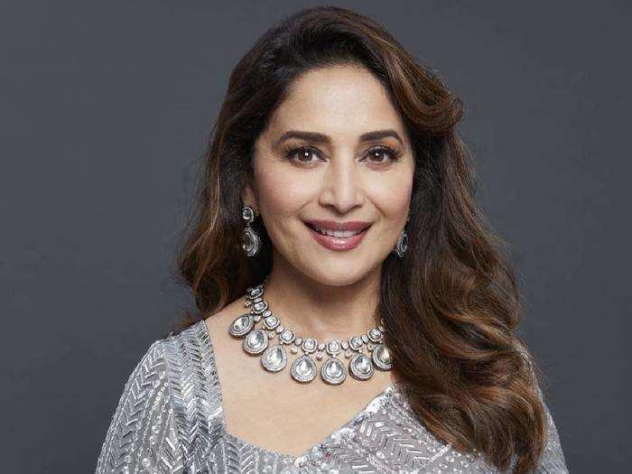 madhuri dixit looks drop down gorgeous in manish malhotra gray sequins saree