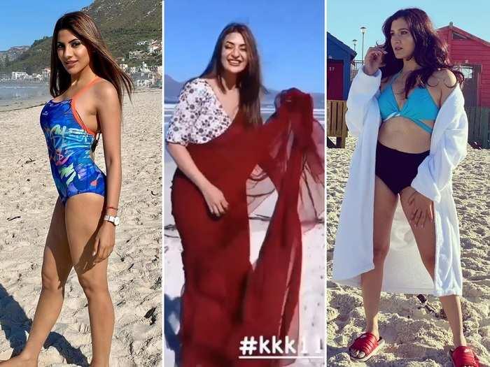 khatron ke khiladi 11 divyanka tripathis flawless beauty in red saree takes on nikki tamboli and sana makbul swimsuit aastha gill bikini photo