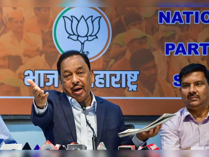 Mumbai: BJPs Rajya Sabha MP Narayan Rane addresses the media, at party office i...