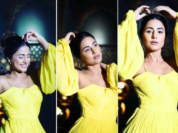 hina khan looks beautiful in yellow georgette hand pleated gown by pin up aastha