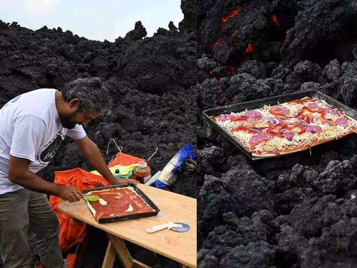 पाहा व्हिडिओ: ज्वालामुखीच्या लाव्हेवर तयार केला पिझ्झा