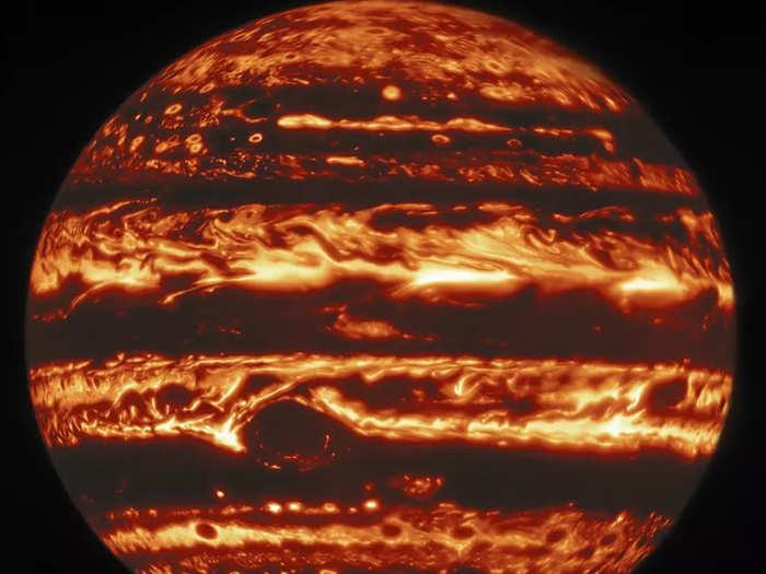 jupiter as seen under visible ultraviolet and infrared wavelengths