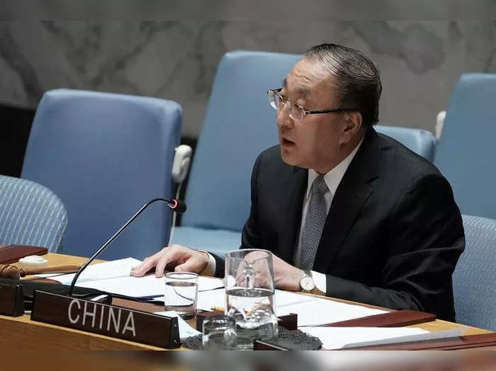 Zhang Jun, Chinas Ambassador to the United Nations speaks at a Security Council meeting about Afghanistan at United Nations Headquarters in the Manhattan borough of New York City.