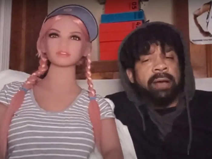 Jay Hefner with a doll named Kali Sunn