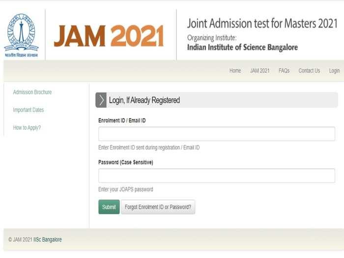 JAM 2021 Admission