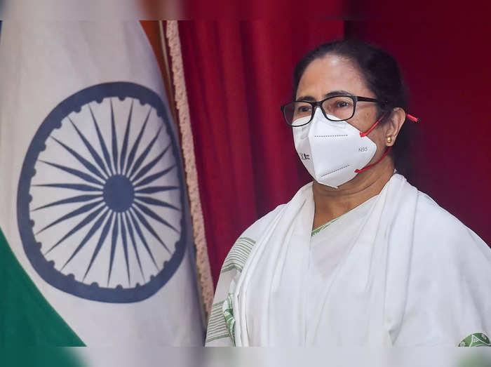 Kolkata: West Bengal chief minister Mamata Banerjee during the national anthem a...