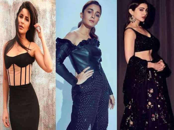 black outfits lehenga of actresses like alia bhatt sara ali khan katrina kaif for perfect fashionable look