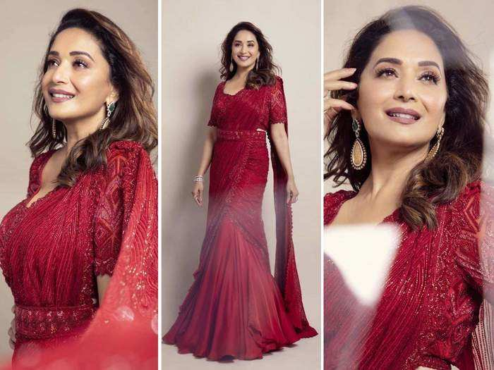 madhuri dixits 5 beautiful lehenga looks and matching makeup on it. tips will work for you too in marathi