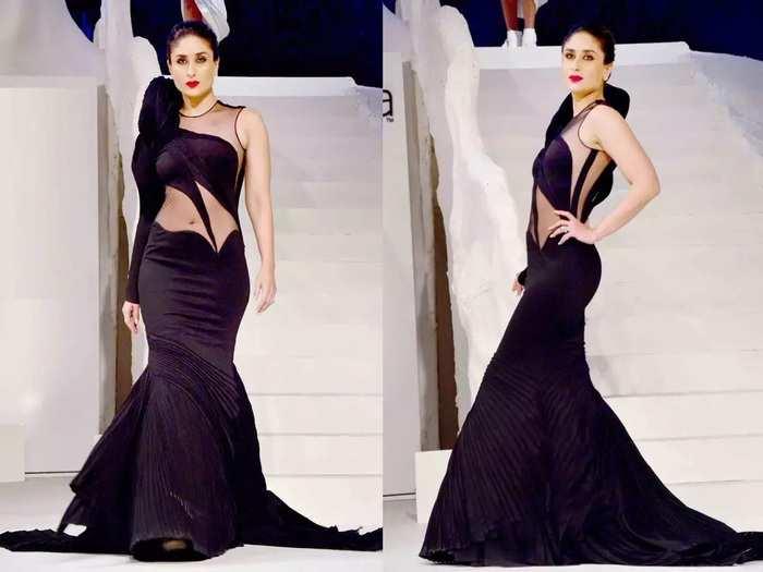 kareena kapoor wore beautiful black saree designed by anamika khanna at lakme fashion week 2018 in marathi